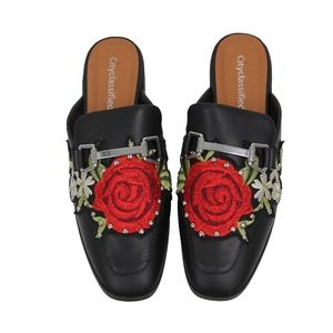Shoes - Black Rose Embroidery Backless Slip On Loafer Mule